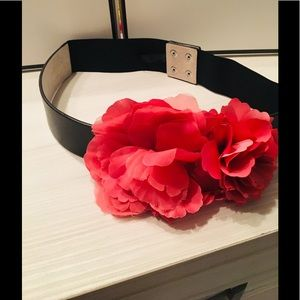 WHBM black belt with hot pink flower